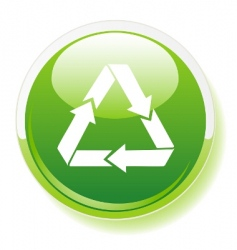 Recycling symbol on green button vector