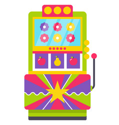 retro machine with joystick with colorful flowers vector image