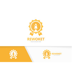 reward and rocket logo combination trophy vector image