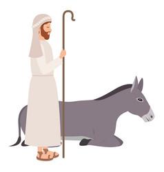 Saint joseph with mule character vector