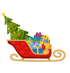 santa claus sleigh with gifts and christmas tree vector image
