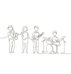 school music band - one line design style vector image