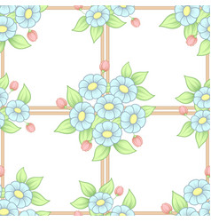 seamless pastel flowers lattice background vector image