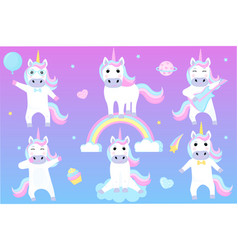 set funny unicorns cartoon characters playing vector image