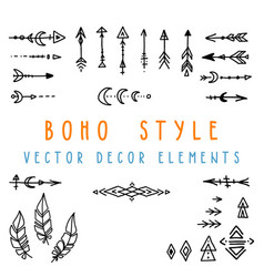 Set of hand drawn design elements in boho vector