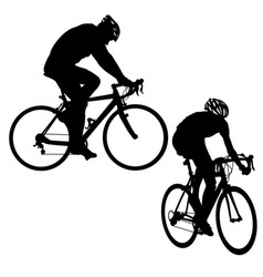 Set silhouette of a cyclist male on white vector