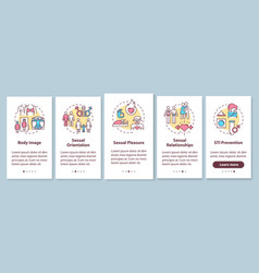 Sexual relationship onboarding mobile app page vector