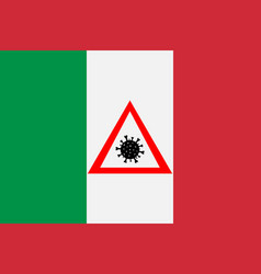 sign with coronavirus on flag italy vector image