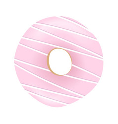 Sweet pink donut with striped icing and sprinkles vector