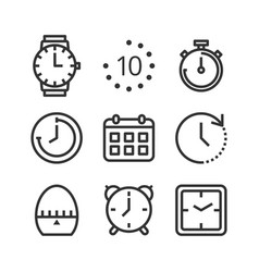 time and clock isolated icon set vector image