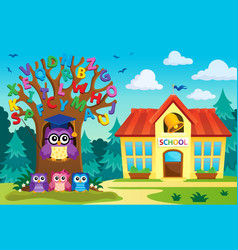 tree with stylized school owl theme 7 vector image