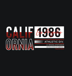 Typography design athletic california for t-shirt vector