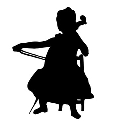 Very high quality of girl with cello vector