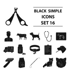 veterinary clinic set icons in black style big vector image