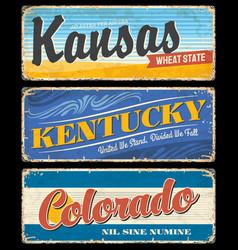vintage banners kentucky kansas and colorado vector image