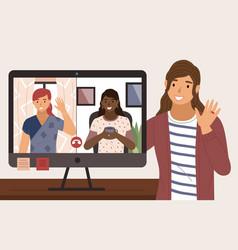 virtual meeting on internet people on vector image
