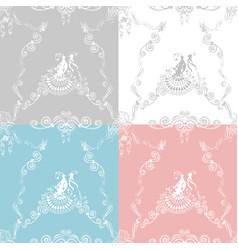 wedding seamless patterns vector image