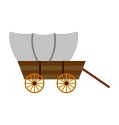 Western covered wagon icon vector