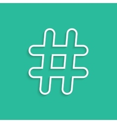 white hashtag icon isolated on green background vector image