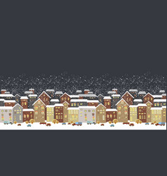 Winter christmas landscape with fairy tale houses vector