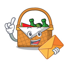 with envelope picnic basket character cartoon vector image