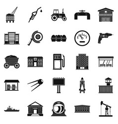 workers in the factory icons set simple style vector image