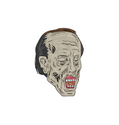 Zombie head three quarter view drawing vector