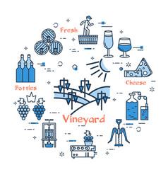 blue round vineyard concept vector image