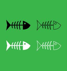 fish sceleton icon black and white color set vector image vector image