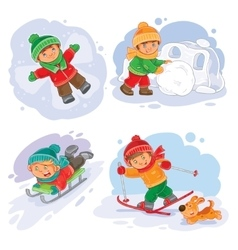 Set winter icons with little children vector image