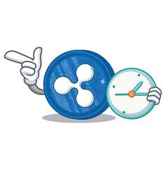With clock ripple coin character cartoon vector