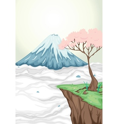 a volcano mouth and a tree vector image vector image