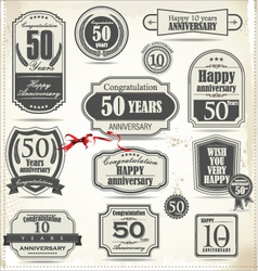 Anniversary retro badge and labels vector image vector image