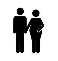 Black silhouette pictogram woman pregnant and man vector