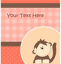Card with cartoon monkey vector image vector image