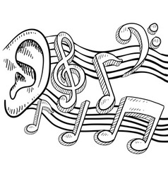 doodle ear music notes vector image vector image