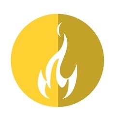 Fire flame bright danger icon yellow circle vector