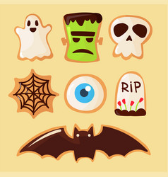 halloween party colorful sweets cupcakes lollipops vector image