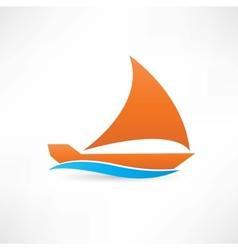 orange sailboat at sea icon vector image vector image
