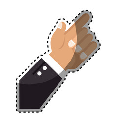 sticker hand with finger pointing up vector image vector image