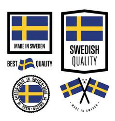 sweden quality label set for goods vector image