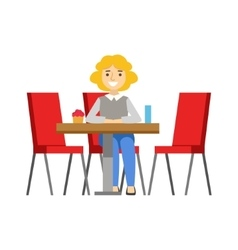 Woman Alone At The Table Eating Cupcake Smiling vector image vector image