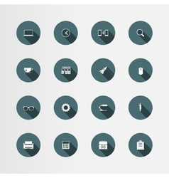 16 office flat icons set vector image