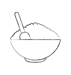 Cereal dish with spoon vector