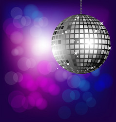 Disco ball on bokeh background vector image