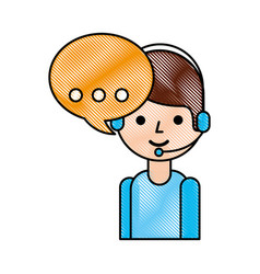 logistic call center operator with headset and vector image