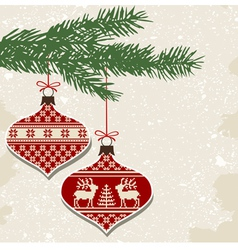 Retro christmas balls with ornaments vector image vector image