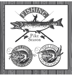 Vintage trout fishing emblems labels and design vector image vector image
