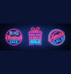 christmas sale discounts a set of cards in neon vector image vector image