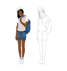 Girl Denim Fashion African No 3 vector image